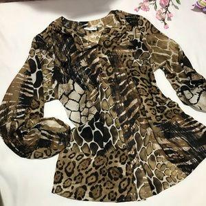 Sheer animal print button down blouse size 1X